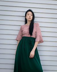 Gi Shieh - Raided Mom's Closet Pink Blouse, Old Fast Fashion Green Skirt - Feeling like a watermelon sourpatch candy.
