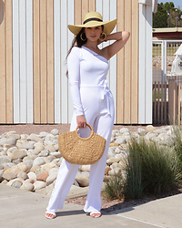 Raspberry Jam - Femme Luxe White One Shoulder Jumpsuit, Shein Straw Bag, Urbanog Sandals, Target Straw Hat - White One Shoulder Jumpsuit