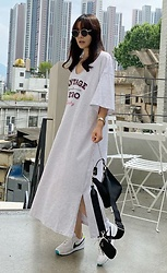 Miamiyu K - Miamasvin Vintage & Retro Print Loose T Shirt Dress - Street Feet