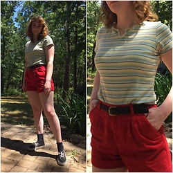 Kim Guthrie - Striped T Shirt, Black Belt, Red Shorts, Black Socks, Vans Black - 2020-07-21