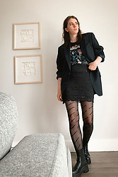 Gabrielle Arruda -  - Black tights outfit idea, fall fashion