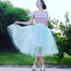 Saguaro Style - Lacoste Striped Tee, Urban Outfitters Tulle Skirt, Sven Clogs White - 07.20.20