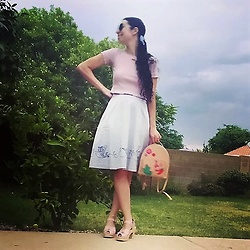 Saguaro Style - Heart Cut Out Crop Tee, Miss Patina London Cat Mermaid Skirt, Kate Spade Cactus Backpack, Sven Clogs Pink Bow - 07.21.20