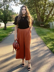 Yesok - H&M Puffy Sleeve Blouse, H&M Culottes, Charles And Keith Top Handle Bag - Black|rust|summer