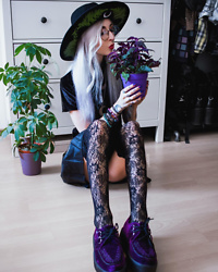 Kimi Peri - Crescent Moon Necklace, Punkdesignshop Lace Overknee Socks, T.U.K. Footwear Purple Velvet Creepers, Dolls Kill Vegan Leather Skirt, Restyle Black Velvet Forest Top, Restyle Fern Hat, Round Glasses - Plants Are Friends 🌿💜