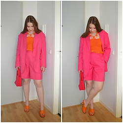 Mucha Lucha - Monki Blazer, Boohoo Top, Monki Shorts, Zara Bag, Topshop Heels - Perfect pink summer suit