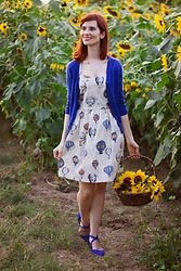 Bleu Avenue Ofbleuavenue - Amordress Love Journey Balloon Dress, Mak Charter School Cardigan - Sunflower Fields