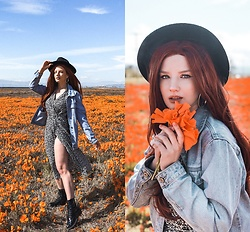 Vlada Kozachyshche - Q Dress, Stradivarius Earrings, Zaful Boots - Orange Field