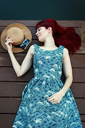 Bleu Avenue Ofbleuavenue - Modcloth Optimistic Effect Dress In Ocean Waves - Optimistic Effect