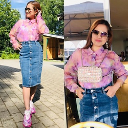 Janeth Javier - Ray Ban Sunglasses, Guess Bag, Cubus Denim Skirt - Button up denim skirt