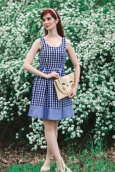 Bleu Avenue Ofbleuavenue - Modcloth Blue And White Gingham Dress - THE HOURS OF THE EVENING