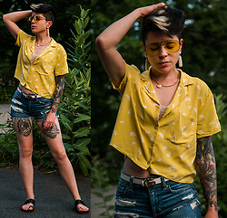 Carolyn W - Yellow, Gingko, Replica, American Eagle Outfitters Ripped, Vince Black - Gingko Leaf