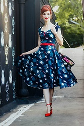 Bleu Avenue Ofbleuavenue - Collectif Mainline Dolores Space Pin Up Doll Dress, Shein Red Pointed Toe Pumps, Bewaltz Sci Fi Novelty Ray Gun Crossbody Bag, Natuloth Freshwater Pearl Earrings - Out of This World