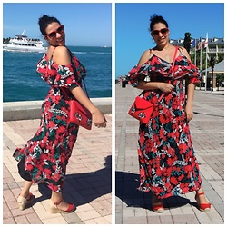 Lady Habana - Calvin Klein Floral Printed Cold Shoulder Maxi Dress, Misako Cross Body Bag, Ralph Lauren Sunglasses - To much red?