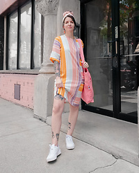 Jessie Bee - Big Bud Press Everyday Tote Bag, Native Youth Moriz Dress, Ettika Pink Resin Earrings, Puma Carina Sneaker, Vintage Hair Scarf - Pastel Stripes