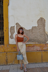 Mi Vida En Rojo - Femmeluxe Crop Top, Zara Skirt, Zara Bag - Golden Plan
