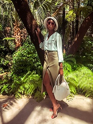 PAMELA - Zara Green Faux Leather Pencil Skirt, Nine West Strappy Sandals, Asos Bucket Hat - A Green Outfit