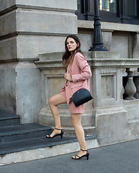 Jenelle Witty - Everlane Pink Blazer And Shorts Suit - PINK SHORTS SUIT