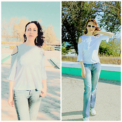 Galina K - Defacto Top, Galliano Jeans - White open shoulder top