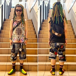 @KiD - Typhoon Mart Sunglasses, 20471120 Bag, Vivienne Westwood Cigarette Case, Rat Swamp Crust Shorts, Vans Rasta Slipon - JapaneseTrash589