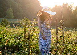 Veronika Lipar - Avenue The Label Straw Hat, Mango Blue Check Long Button Front Dress - Stylish Summer Garden Outfit