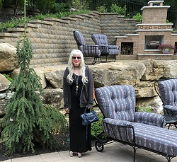 Shannon D - Harley Davidson Vintage Hoodie, Balenciaga Bag, Prada Heels, Ray Ban Sunglasses, Rick Owens Black Dress, Hellbent Leather Choker, Roseark Necklace - High Low Mix