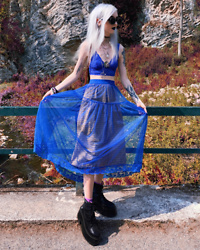Kimi Peri - Naked Wolfe England Platform Boots, Elfsack Maxi Skirt, Asos Blue Bralette, Solrayz Moonstone Necklace, Witch Symbol Glasses - Blue Summer Elf 🧝🏻‍♀️💙