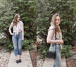 Emily S. - Abercrombie & Fitch Tie Front Blouse, Levi's® Mom Jeans, Fezsouk Babouches, Etsy Leather Bag - Denim & Stripes