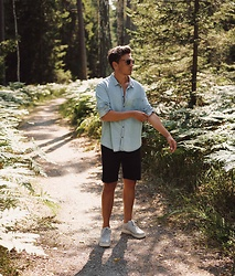 Andreas Sundbom - Cheap Monday Shirt, Filippa K Shorts, Nike Air Force 1 Sneakers - Forest bound