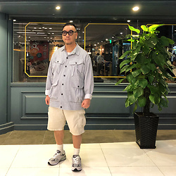 Mannix Lo - Stripes Coverall, Uniqlo Cargo Shorts, New Balance 993 Sneakers - Worrying doesn't take away tomorrow's troubles