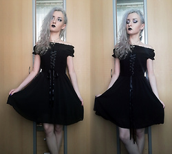 Grim Alex - Black Off Shoulder Dress, Aliexpress Bat Necklace, Gifted Long Earrings - First and Last and Always