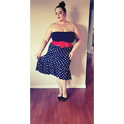 Caroline Swietkowski - Ardene Black Tube Top, Amazon Red Waist Belt, H&M Black And White Polka Dot Skirt, Dream Pairs Black Patent Flats - Homesick.