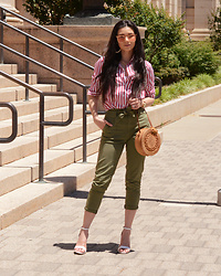 Raspberry Jam - Yoins Red Striped Shirt, Walmart Khaki Paper Bag Waist Pants, Shein Straw Bag, Urbanog Strap Sandals - Red Striped Shirt with Khaki Paper Bag Waist Pants