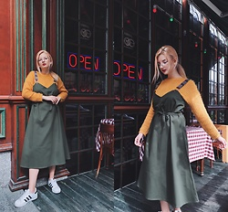 Vlada Kozachyshche - Booriva Dress, Zaful Sweater, Adidas Sneakers - Barista