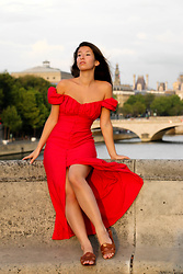 Carmen Schubert - Zara Red Dress, Zara Brown Sandals - Red Dress in Paris