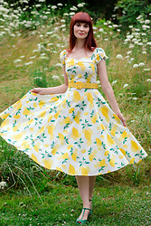 Bleu Avenue Ofbleuavenue - Collectif Lemon Print Dolores Dress, Bettie Page Green T Strap Heels - All the Little Cares