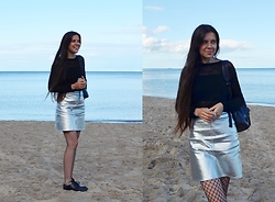 Isabel O - H&M Blouse, New Yorker Metallic Skirt, Fishnet Tights, Dr. Martens - Back then, back there