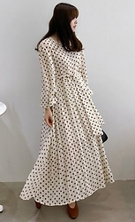 Miamiyu K - Miamasvin Tie Waist Polka Dot Long Dress - Polka Love