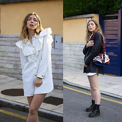 Alba Granda - Zara White Denim Dress, Zara Black Leather Blazer, Zara Colorful Bag, Coolway Black Boots - Black & White