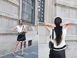 "Jelena Dimić - Shein Tweed Top, Romwe Quilted Faux Leather Skirt, Turbani Amore Black Hair Bow, Rosefield Watch, Cocopat Baguette Bag ""Sara"", Beret Ma Chérie Coin Chain Belt Worn As A Necklace, Amiclubwear Clear Heel Sandals - When I said: ""I hope you're happy"", didn't mean it"