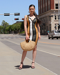 Raspberry Jam - Gojane Khaki Mustard Striped Midi Dress, Shein Straw Bag, Target Strap Sandals - Khaki Mustard Striped Midi Dress