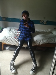 Owen Rathbone - Ellazhu Metallic Faux Leather Leggings, Zanzea Blue Shirt Checked Long Sleeve Top - Latex leg look