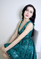 Caitlin - Weiman Teardrop Diamond Necklace And Earrings, Bebe Sequin Hi Lo Plunge Dress - Emerald