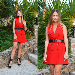 Tamara Bellis - Zara Dress, Asos Wedges - Red Blazer Dress