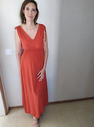 Sabrina Lamandé - Mango Maxi Dress, H&M Summer Platform Shoes - Orange Maxi-Dress