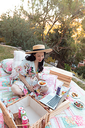 Lisa Valerie Morgan - Hemant And Nandita Dress, Lack Of Color Hat - How to Host A Virtual Picnic