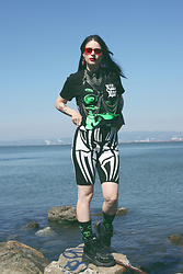 Severine A - Alien Body Shirt, Dolls Kill Shorts, Buffalo Platforms - Alien // IG@Feline.Intuition