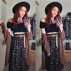Kc - Dangerfield Floral Midi Skirt, Cotton On Brown Cardigan - My Twitchy Witchy Girl