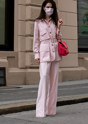 Veronika Lipar - Maxmara Pastel Pink Safari Jacket, Maxmara Pastel Pink Wide Leg Trousers, Pink Face Mask - Muted Pastel Pink Relaxed Suit with Pink Face Mask