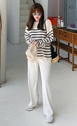 Miamiyu K - Miamasvin Contrast Stripe Pattern Knit Top - Knit Season